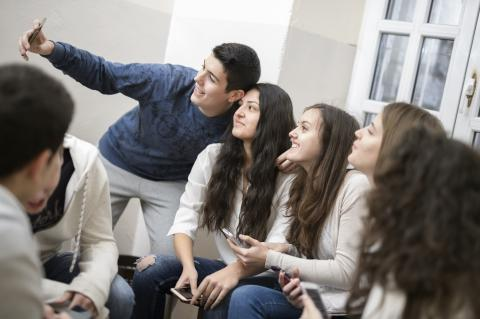 High school students making a selfie