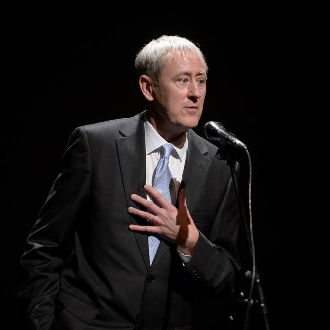 Nicholas Lyndhurst speaking at the Montenegrin National Theatre