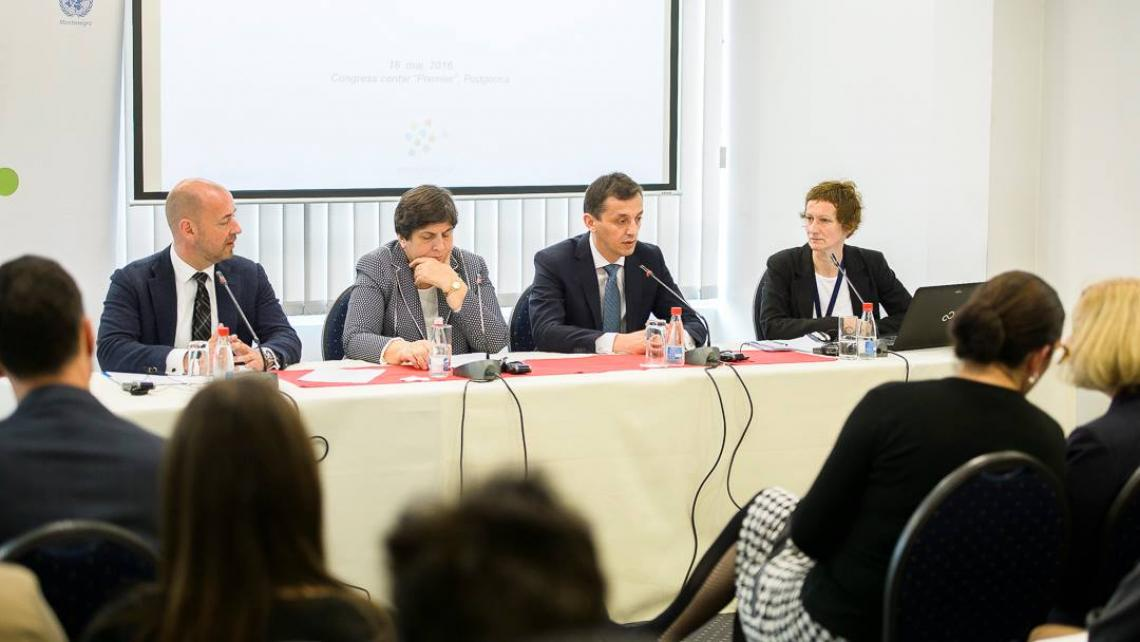 UNICEF Montenegro Representative Benjamin Perks, Minister of Labour and Social Welfare Zorica Kovacevic, Minister of Education Predrag Boskovic and UNICEF Consultant Sladjana Petkovic at the round table on youth employability in Podgorica in May 2016 (from left to right)