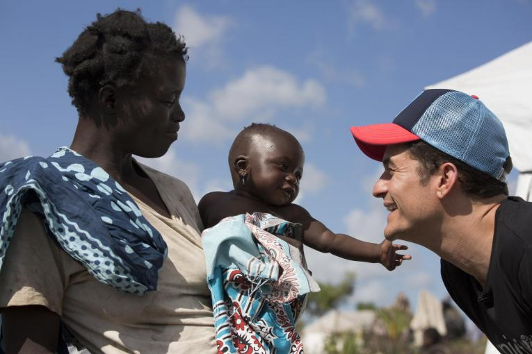 UNICEF Goodwill Ambassador Orlando Bloom visits children displaced by Cyclone Idai in Mozambique