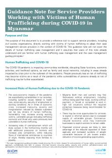 Working with Victims of Human Trafficking during COVID-19 in Myanmar