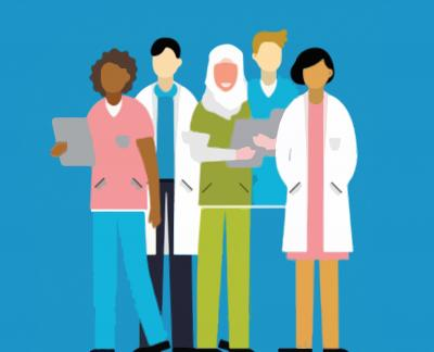 This image shows an illustration of health workers
