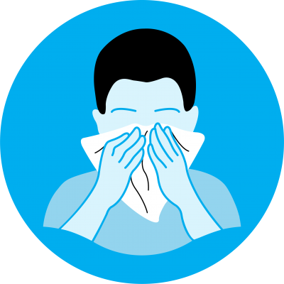 this image shows an illustration of a person sneezing into a tissue