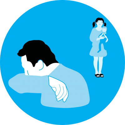 This image shows an illustration of a person sneezing into their elbow while maintaining distance from a child