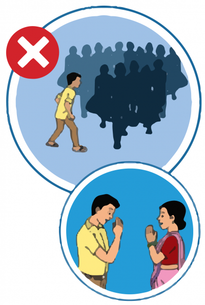 This image shows an image of a man walking into a crowd, which one should not do. It also shows a man and a woman greeting each other with a Namaste to avoid direct contact.