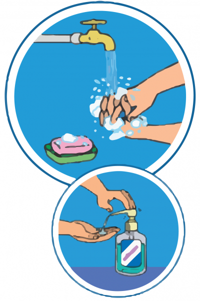 This image shows an illustration of a pair of hands washing under a tap using soap, and a pair of hands using hand sanitizer