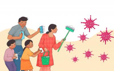 This image shows an illustration of a family with cleaning equipment fighting off the coronavirus