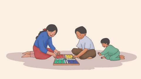 This image shows an illustration of three children playing