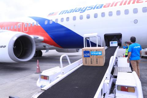 This image shows supplies arriving at the Tribhuvan International Airport