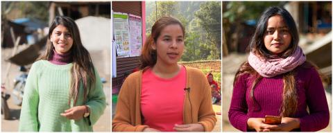 Three young women in Gorkha
