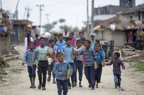 Children returning from school
