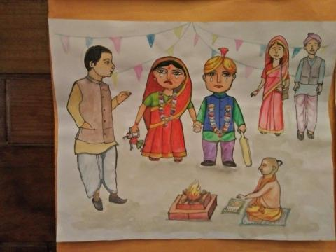 Child marriage drawing