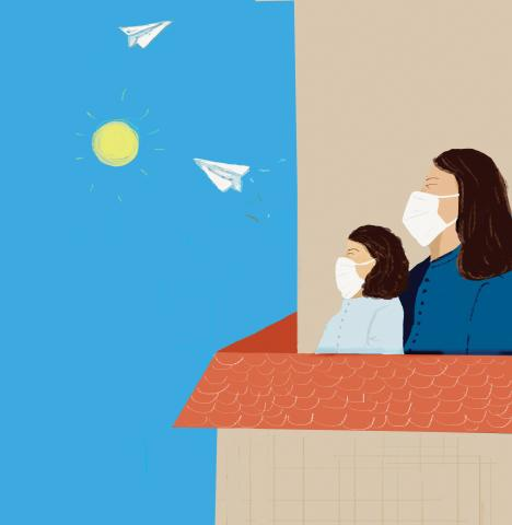 This image shows an illustration of two people wearing masks looking at paper airplanes flying in the sky as a symbol of hope