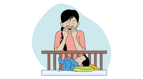 This image shows a mother playing peek-a-boo with her child