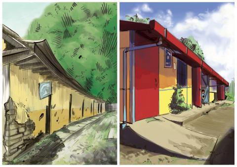 Illustration before and after of the school