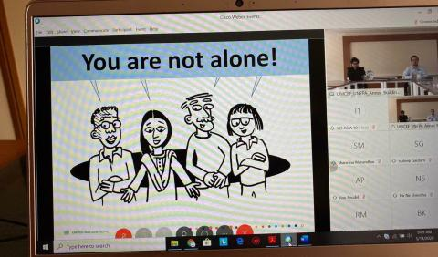 This image shows a screenshot of the mental health webinar conducted for youth volunteers