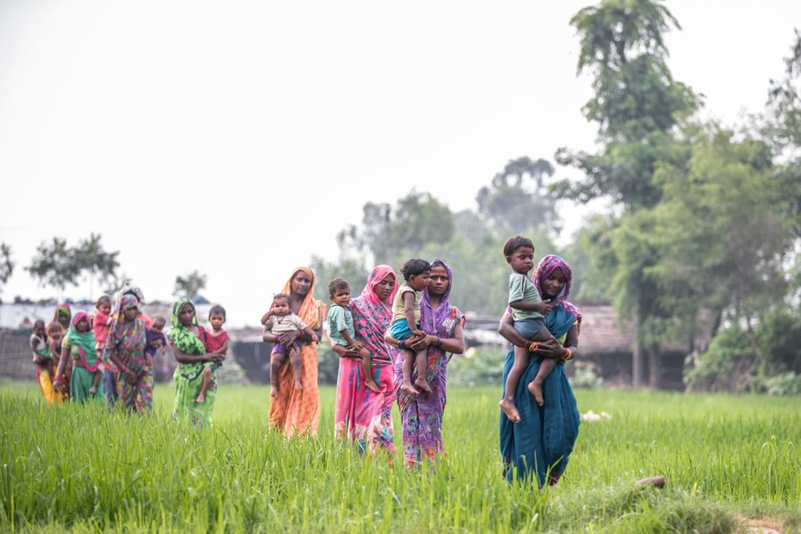 Mothers with their children walk along a paddy field