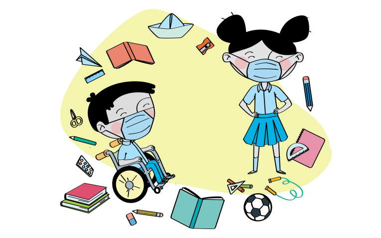 This image shows an illustration of children surrounded by educational materials