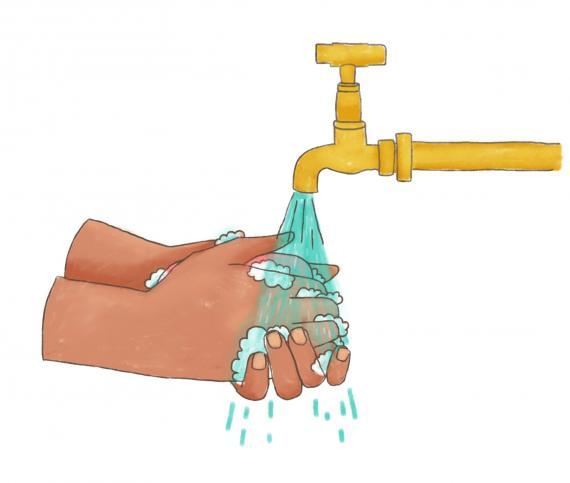 This image shows an illustration of hands washing