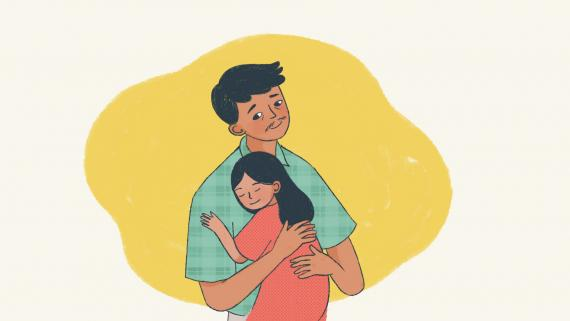 This image shows an illustration of a father hugging his daughter