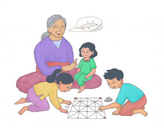 This images shows an illustration of a grandmother talking to her grandchildren