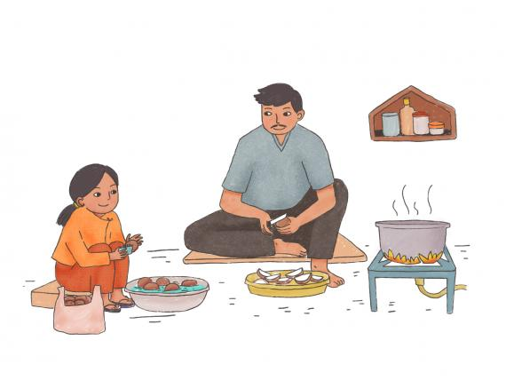 This image shows an illustration of a father and daughter cooking together