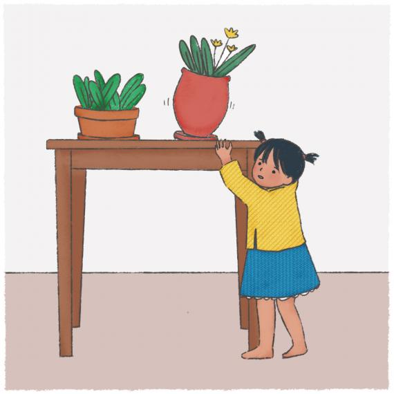 This image shows an illustration of a young child reaching for a vase on a table