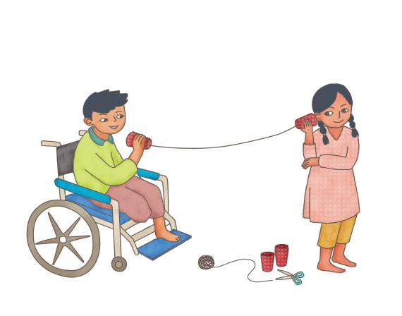 This image shows an illustration of two children playing telephone