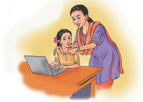 This image shows a mother guiding her daughter in using the internet