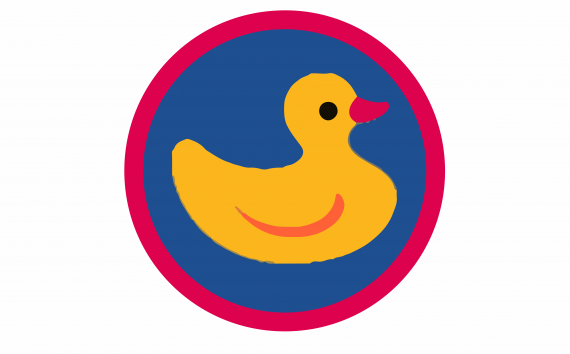 This image shows an illustrated duck in a circle