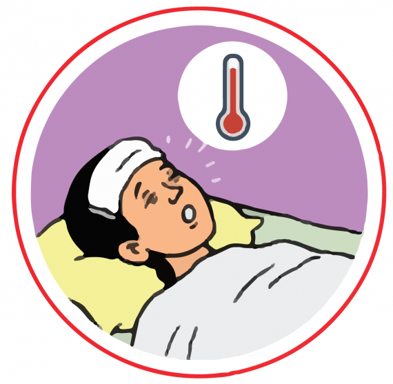 This image shows an illustration of a woman in bed with fever