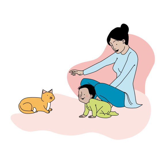 This image shows an illustration of a mother on the floor with her child pointing at their pet cat