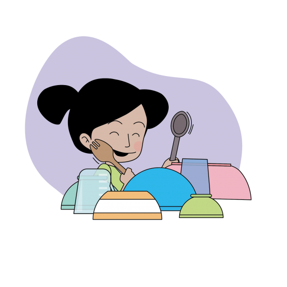 This image shows a young child playing music with spoons and dishes
