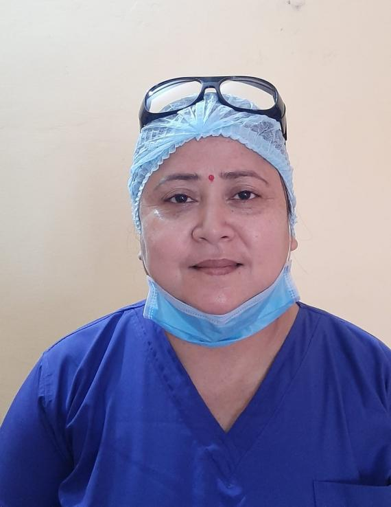 This image shows Hema Thapa, nurse administrator at the Narayani Hospital in Birgunj, Parsa District, in southern Nepal.