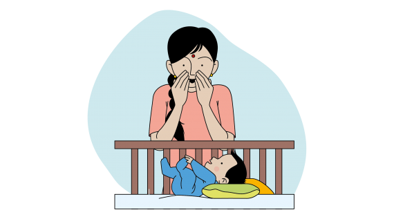 This image shows an illustration of a mother smiling at her baby