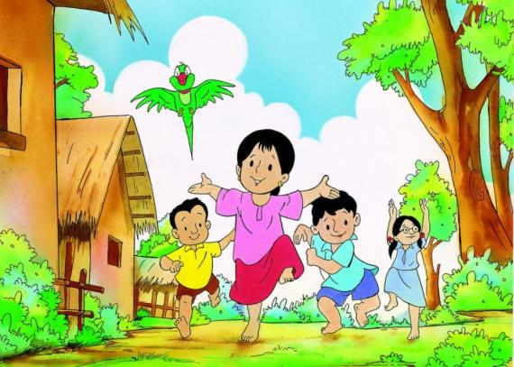 This image shows a screenshot from an old episode of the Meena animated series produced by UNICEF