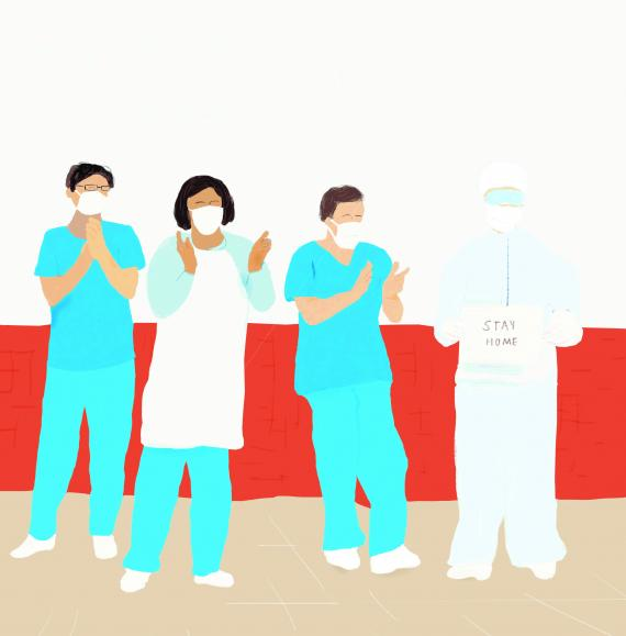 This image shows an illustration of a group of health workers
