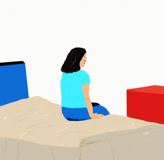 This image shows an illustration of a person sitting on a bed