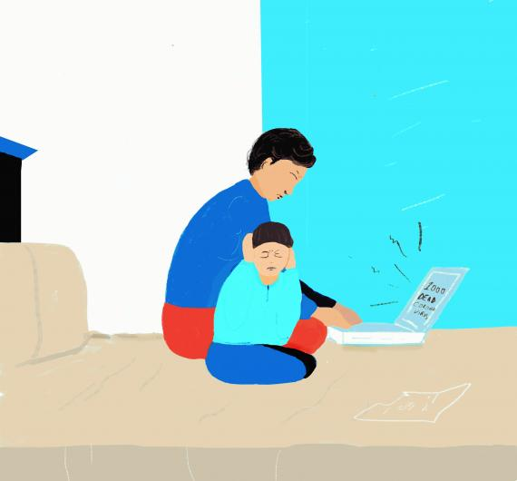 this image shows an illustration of a child experiencing anxiety because of the news of COVID-19 that an adult is looking at behind him on a laptop