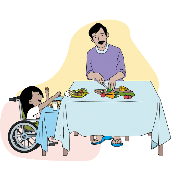This image shows a father and daughter making snacks together