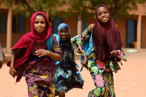 Teenagers walking home after school in Niamey, the capital of Niger