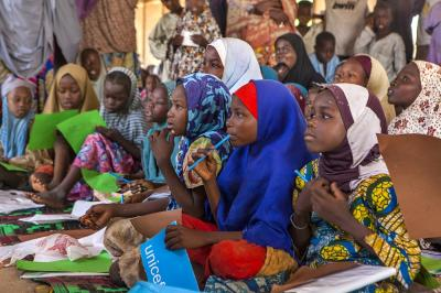 Children learning at a camp in Borno State
