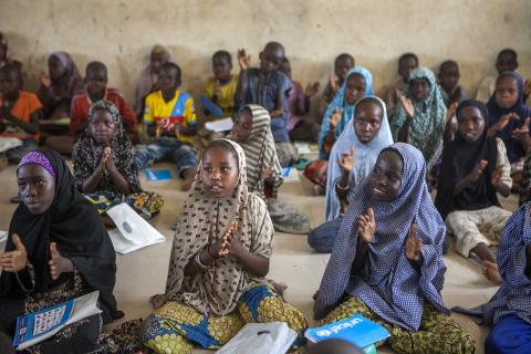 Children at a temporary learning centre in Borno State