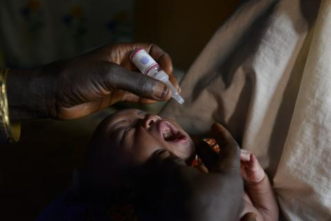 A child receiving the polio vaccine