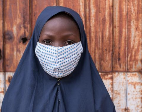 A girl wearing a facemask in northern Nigeria