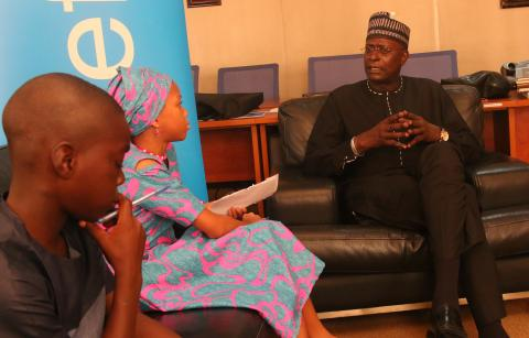 child interviews UNICEF representative