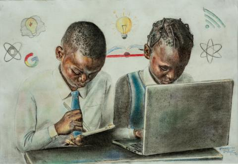 Pius' Portrait of students learning on the computer