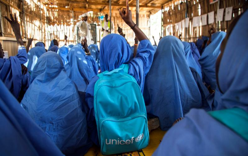 Children in class at a primary school, Muna Garage IDP camp, Maiduguri, Borno State, Nigeria.