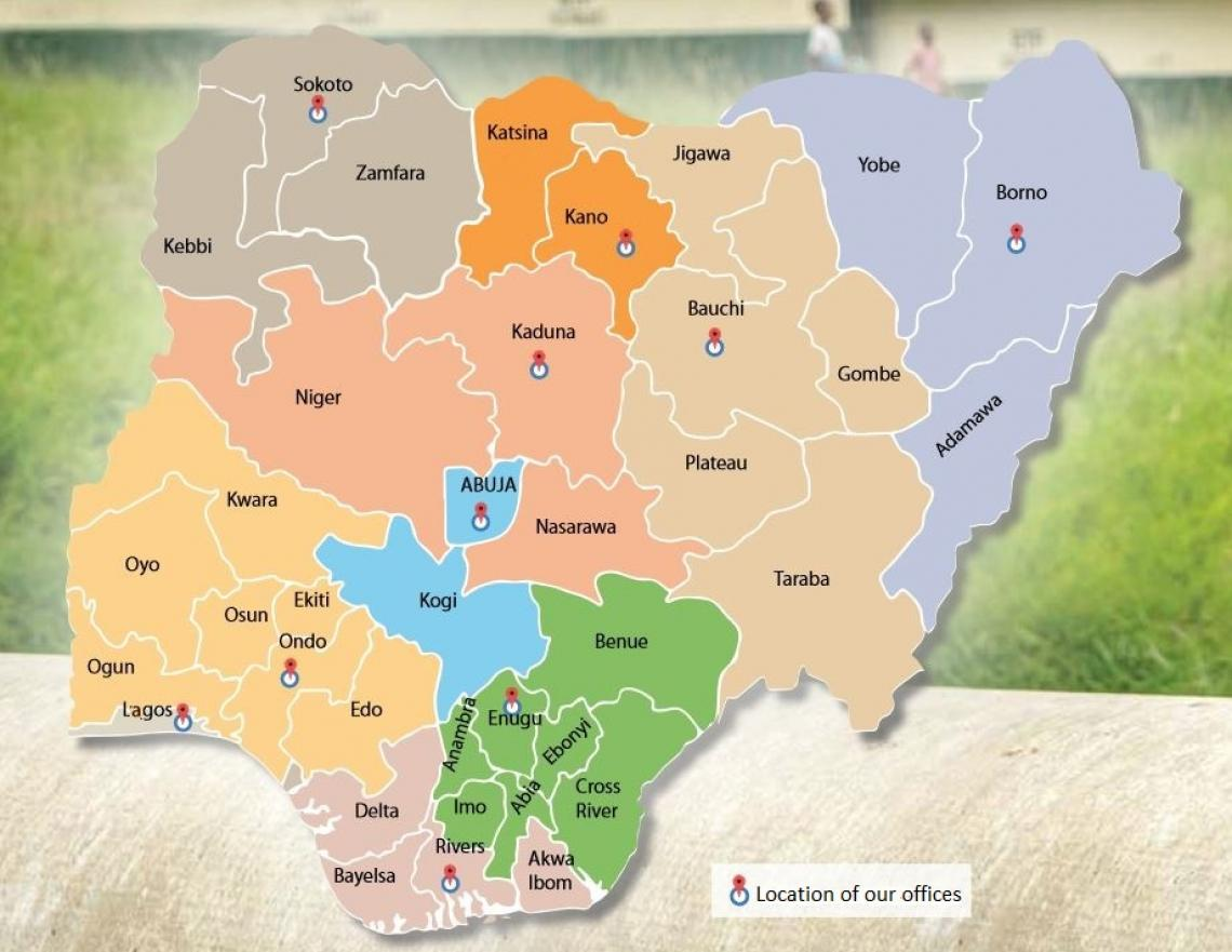 Map of offices in Nigeria