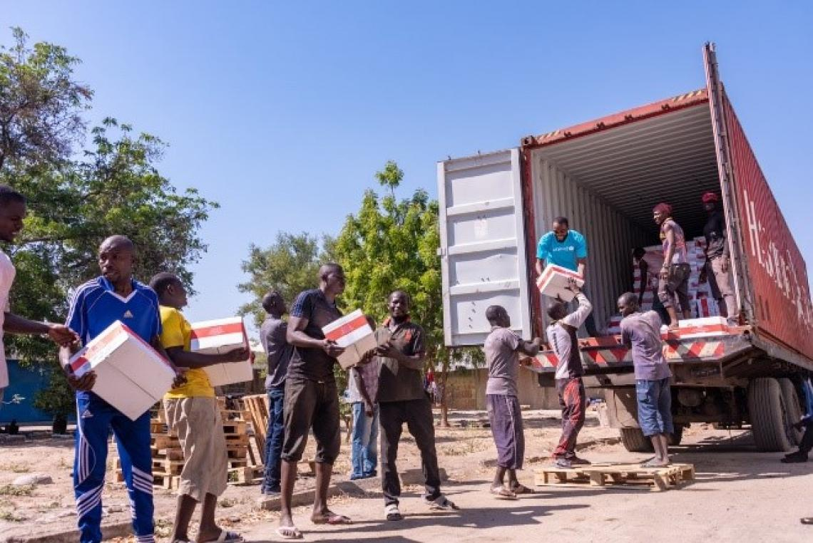 RUTF being offloaded from a truck to be distributed in northeast Nigeria